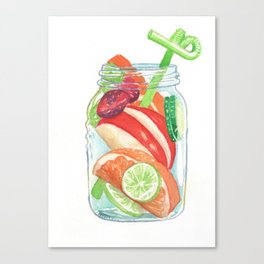 Refreshing Jar with Twisty Straw Canvas Print