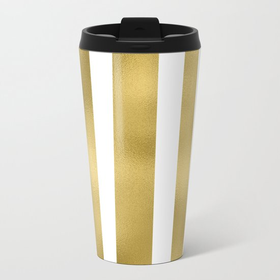 Gold unequal stripes on clear white - vertical pattern Metal Travel Mug