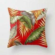HAWAIIAN GARDEN TROPICAL LEAVES | tomato red gold Throw Pillow