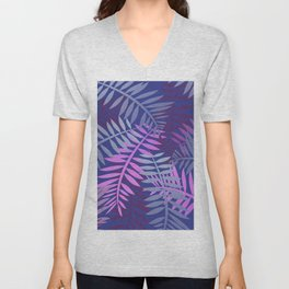 Violet pink palm leaves pattern Design #leaves Unisex V-Neck