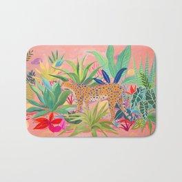 Leopard in Succulent Garden Bath Mat