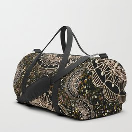 Rose Gold Mandalas with Brown and Copper Sparkles Duffle Bag
