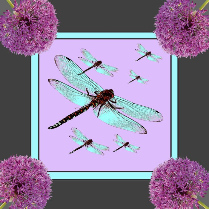 SPRING  BLUE DRAGONFLY FLIGHTS MODERN ART DESIGN Comforters