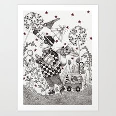 Mr. Hat goes to the Park Art Print