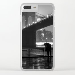 Brooklyn Bridge on a rainy night Clear iPhone Case
