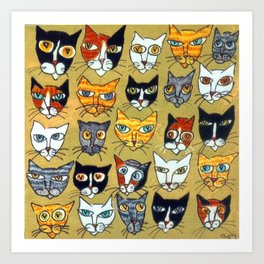 25 Cat Heads Art Print