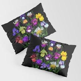 Iris Garden - on black Pillow Sham