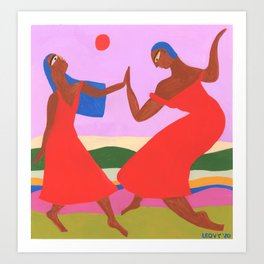 Red moon dance Art Print