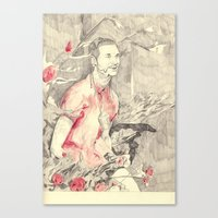 riff raff Canvas Prints featuring RiFF RAFF with ReD ROSeS by withapencilinhand
