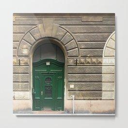 Budapest Green Door Metal Print