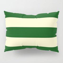 Dark Emerald Green and Cream Large Stripes Pillow Sham