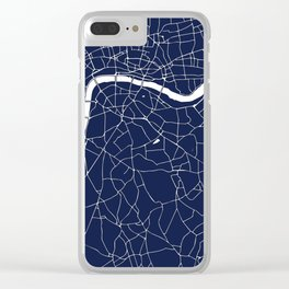 Navy on White London Street Map Clear iPhone Case