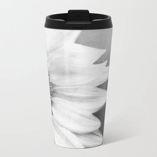 B&W Sunflower Metal Travel Mug