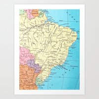 brazil Art Prints featuring Brazil by inourgardentoo