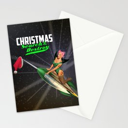 Christmas Pin-Up - Search & Destroy Rocket Stationery Cards