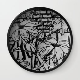 Black and White Palm Flowers by my Mom Wall Clock