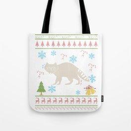 Raccoon Hunting Christmas Ugly Holiday Shirt Tote Bag
