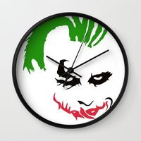 joker Wall Clocks featuring Joker by The Artist