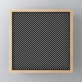 Tiny Paw Prints White on Black Pattern Framed Mini Art Print