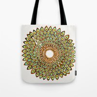 70s Tote Bags featuring Peacock Mandala – 70s Palette by Cat Coquillette