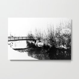 Bridge and Stream Winter Scene Metal Print