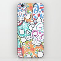 sugar skulls iPhone & iPod Skins featuring skulls sugar by wet yeti