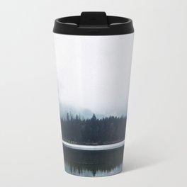 Minimalist Cold Landscape Pine Trees Water Reflection Symmetry Travel Mug