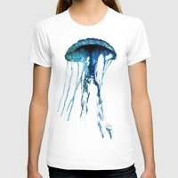 jelly fish T-shirts featuring Jelly Fish Blue by Luigi Riccardi