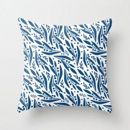 Blue twigs Throw Pillow