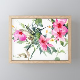 Hibiscus and Hummingbird, Hawaiian Aloha, birds and flowers design Framed Mini Art Print