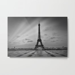 Eiffel Tower at Sunrise | Monochrome Metal Print
