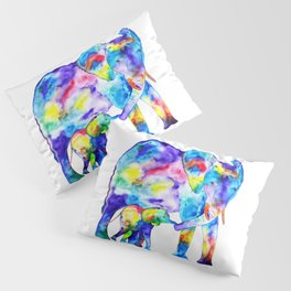 Colorful family elephants Pillow Sham