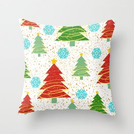 Christmas trees and snowflakes Throw Pillow