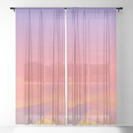 Pastel Gradient Ombre Pink, Purple, Yellow Whimsical Wavy Lines Sheer Curtain