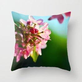 Pink Flowers Blue sky Throw Pillow