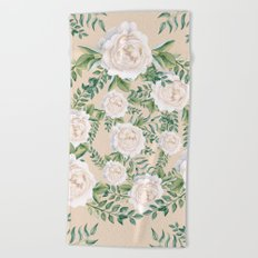 Garden Roses Mandala Pink Green Cream Beach Towel
