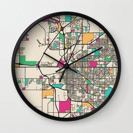 Colorful City Maps: Lincoln, Nebraska Wall Clock