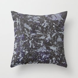 Black and White Ink on Purple Background Throw Pillow