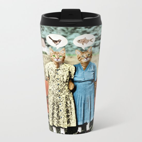 Two Cool Kitties: What's for Lunch? Metal Travel Mug