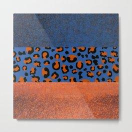 Urban Jungle - Leopard Pattern Blue Metal Print