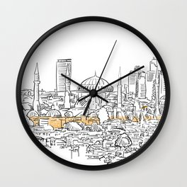 Modern and old Istanbul panorama drawing Wall Clock