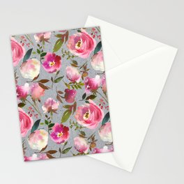 Gray blush pink coral yellow hand painted floral Stationery Cards