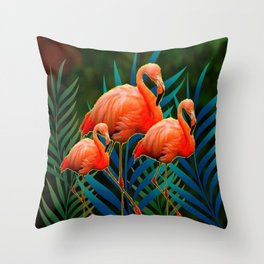 TROPICAL FLORIDA PINK FLAMINGOS IN  BLUE FOLIAGE Throw Pillow