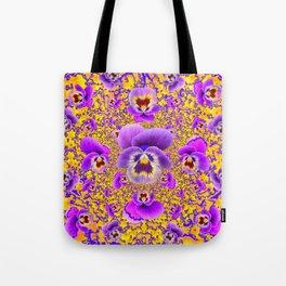MODERN ART PURPLE-GOLDEN GARDEN PANSIES Tote Bag