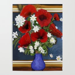 Vase with Red Poppies Poster