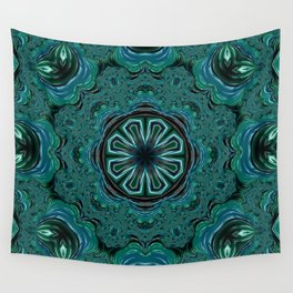 Blue and Turquoise Fractal Kaleidoscope Wall Tapestry