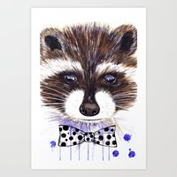 raccoon Art Prints featuring Raccoon by Iskoskikh Sveta