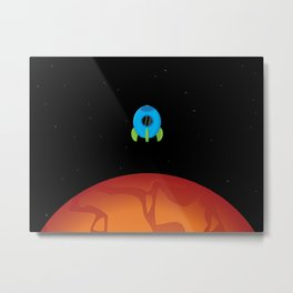 Little Blue Rocket Ship Metal Print