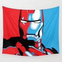 iron man Wall Tapestries featuring Iron Man by C.Rhodes Design