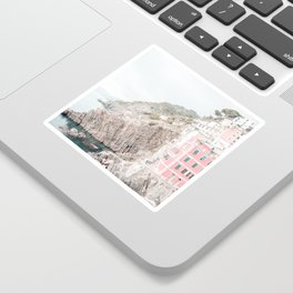Positano, Italy pink-peach-white travel photography in hd. Sticker